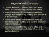 Magellan Cleanroom update - MagellanTech