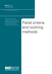 Panel criteria and working methods - Research Excellence Framework