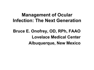 Management of Ocular Infection