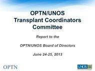 Transplant Coordinators Committee Report - Transplant Pro