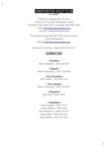 program – 2013 - Shepparton Golf Club