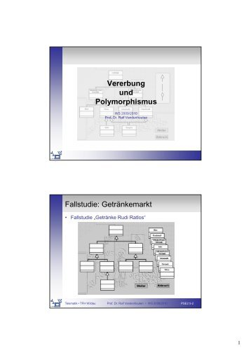 Vererbung und Polymorphismus Fallstudie: Getränkemarkt
