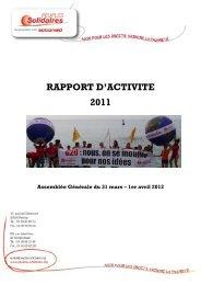 Rapport activités 2011 AG - Peuples solidaires