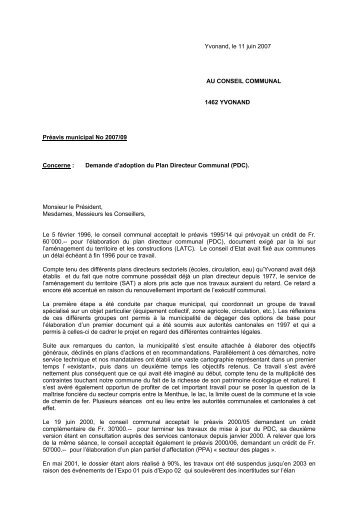 Demande d'adoption du Plan Directeur Communal - Yvonand