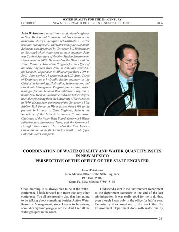 coordination of water quality and water quantity issues in new ...