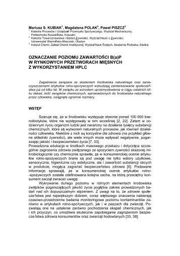 OZNACZANIE POZIOMU ZAWARTO CI B(a) - Zakład Chemii ...