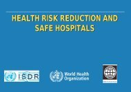 health risk reduction and safe hospitals health risk ... - PreventionWeb