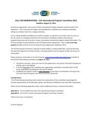 CALL FOR NOMINATIONS: CCA International Program Committee ...