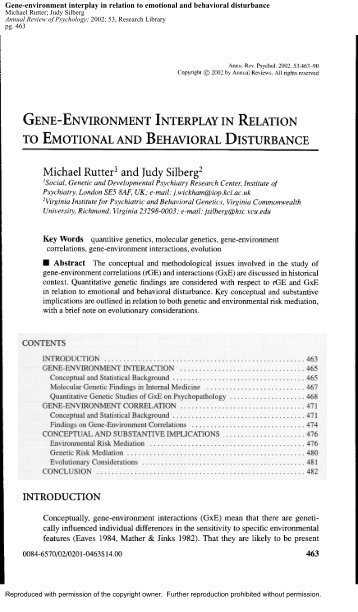 Gene-environment interplay in relation to emotional and behavioral ...