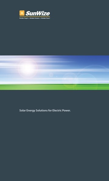 Solar Energy Solutions for Electric Power. - SunWize Technologies ...