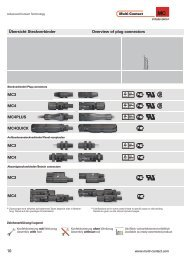 10 Übersicht Steckverbinder Overview of plug connectors MC3 MC4 ...