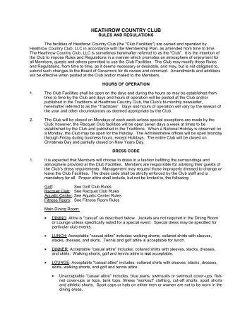 Rules - Heathrow Country Club