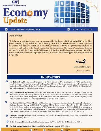 Economy Update 21 January - 3 February 2013 - CII