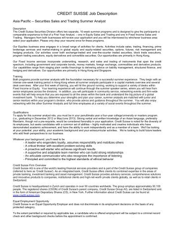 CREDIT SUISSE Job Description