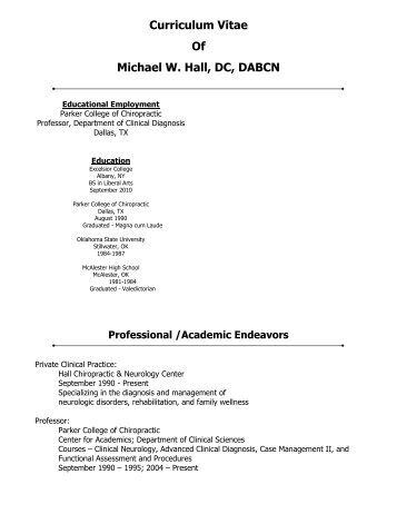 Curriculum Vitae Of Michael W. Hall, DC, DABCN - Australian Spinal ...