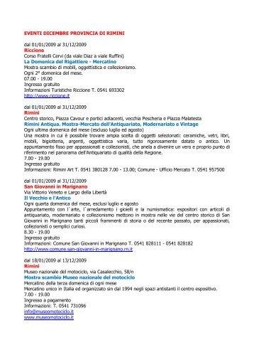 EVENTI DICEMBRE PROVINCIA DI RIMINI dal 01/01/2009 al 31/12 ...