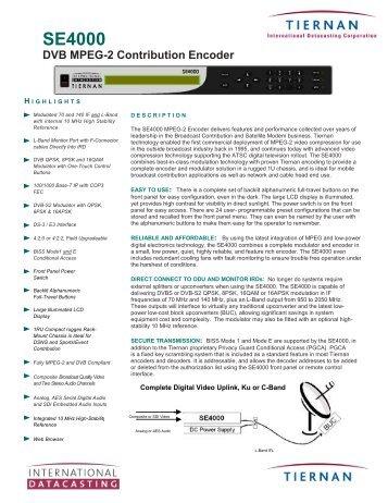 SE4000 DVB MPEG-2 Contribution Encoder