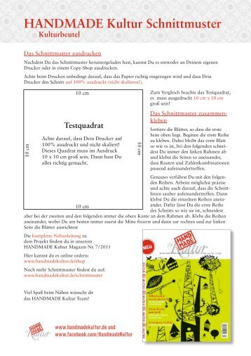 Kulturbeutel Schnittmuster (PDF) - Handmade Kultur