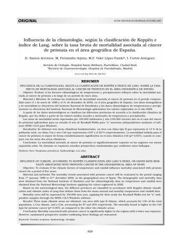 Influencia de la climatología, según la clasificación de ... - Elsevier