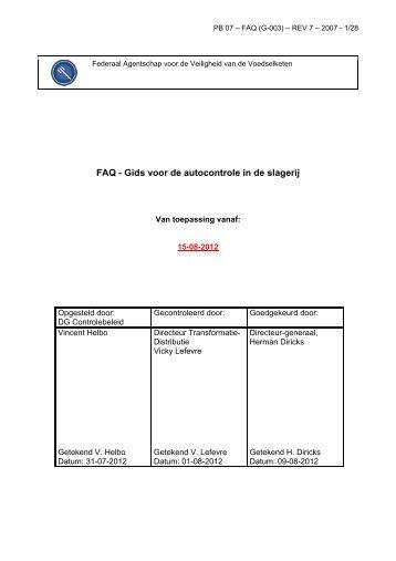 FAQ - Gids voor de autocontrole in de slagerij - Favv
