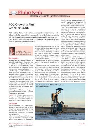 POC Growth 3 Plus - und Gasbeteiligungen :: Proven Oil Canada