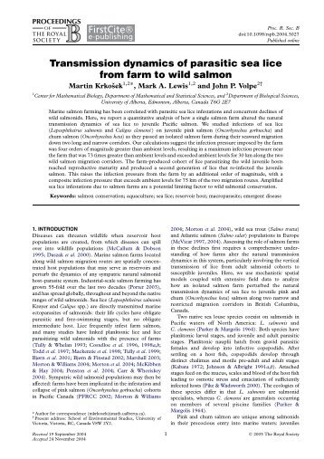 Transmission dynamics of parasitic sea lice from farm to wild salmon