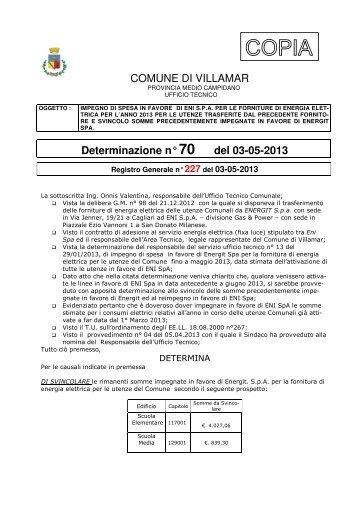 Scarica la Determina Ufficio Tecnico n. 70/2013 (Pdf 129 Kb)