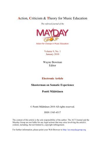 Shusterman on Somatic Experience - ACT Journal - MayDay Group