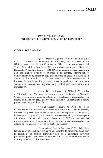DECRETO SUPREMO N° 29446 1. 2. 3. 4. 5. 6. EVO ... - BDP