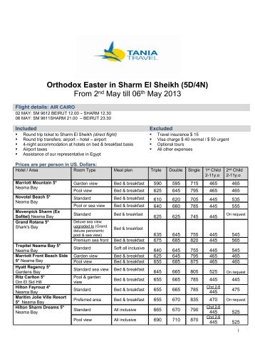Orthodox Easter in Sharm El Sheikh (5D/4N) From ... - Tania Travel