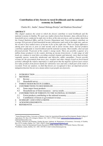 Contribution of dry forests to rural livelihoods and the national - CIFOR