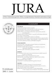2003. évi 1. szám - Jura - Pécsi Tudományegyetem