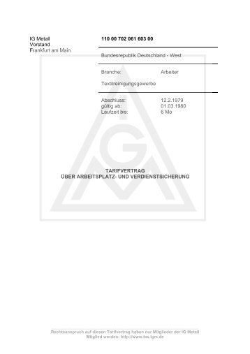 Tarifvertrag über Arbeitsplatz und Verdienstsicherung vom 12.02 ...