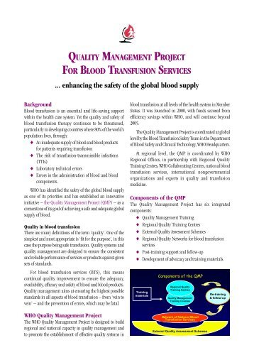 Quality Management Project for blood transfusion services