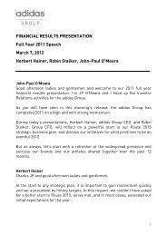 FINANCIAL RESULTS PRESENTATION Full Year ... - adidas Group