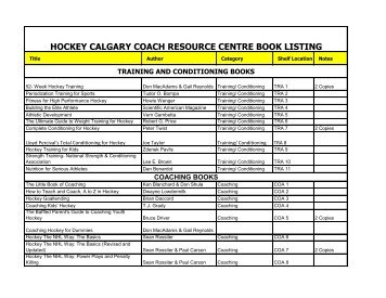 HOCKEY CALGARY COACH RESOURCE CENTRE BOOK LISTING