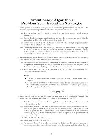 Evolutionary Algorithms Problem Set - Evolution Strategies