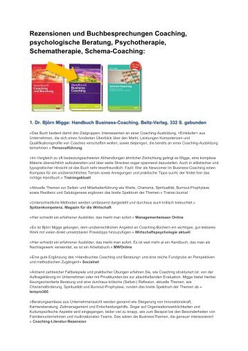 Rezensionen und Buchbesprechungen Coaching, psychologische ...