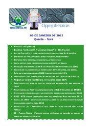 09 DE JANEIRO DE 2013 Quarta – feira - Sindimetal/PR