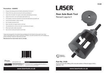 Rear Axle Bush Tool - Laser Tools