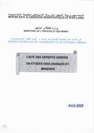 Liste des Experts en Etudes Géologiques et Minières - Ministère de l ...