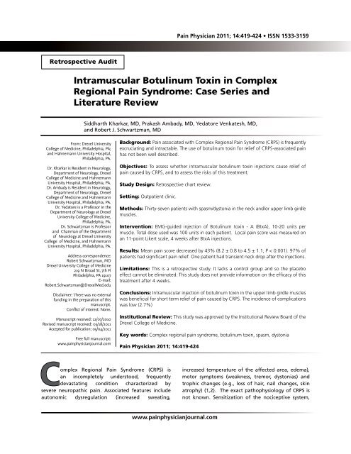 Intramuscular Botulinum Toxin in Complex Regional Pain