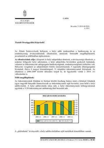 A helyi adók rendszerében a hatékonyság és az - Állami ...