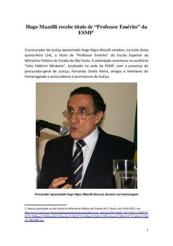 notícia oficial - Hugo Nigro Mazzilli