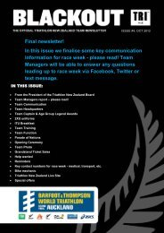 the latest team newsletter - Triathlon New Zealand