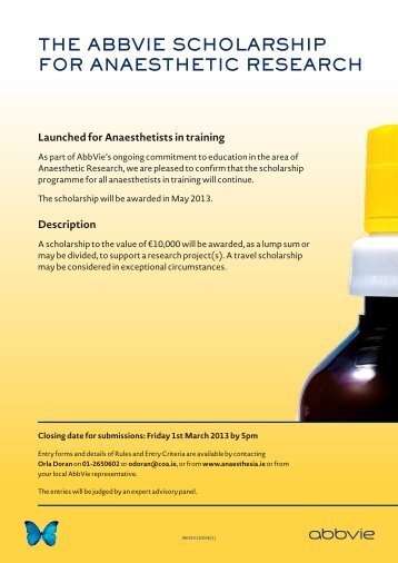 The AbbVie ScholArShip for AnAeSTheTic reSeArch
