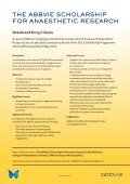 The AbbVie ScholArShip for AnAeSTheTic reSeArch - Page 2