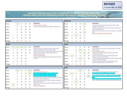 Kalender 2010 versi 17 Maret 2010 - Lembaga Penelitian dan ...