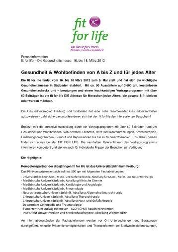Gesundheit & Wohlbefinden von A bis Z und für ... - Messe Freiburg
