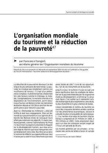 L'organisation mondiale du tourisme et la réduction de la pauvreté